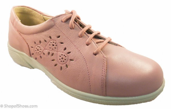 Carmen wide fit rose coloured Easy b summer laced shoe